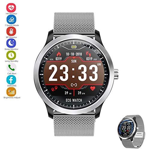 YASF-Uhr verbunden mit EKG + PPG-Überwacher, HRV-Testbericht von der Herzfrequenz des Blutdrucks, IP67 wasserdicht, Smartwatch für Android iPhone (Farbe: Silber (Stahlband))