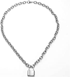 Gmhkonw Lock Pendant Necklace Statement Long Chain Punk Multilayer Choker Necklace for Girls Women Men Gift