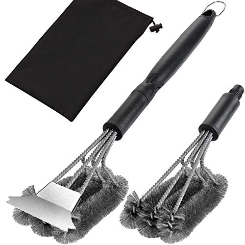 grilljoy 20.5inch Exclusive Grill Cleaning Kit with Extra BBQ Wire Brush Head -4PCS Heavy Duty Grill Brush and Scraper with Carrying Bag- Perfect BBQ Brush for Gas Grill Cleaning