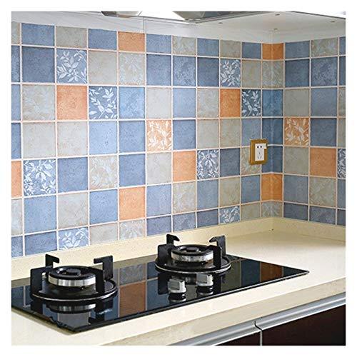 WHYBH HYCSP Badezimmer-Wand-Aufkleber Mosaik-Tapete Küche Wasserdichtes Fliesenaufkleber Kunststoff Vinyl Selbstklebende Wand-Papiere Home Decor (Color : Blue Big Grid, Size : 5M x 40CM)