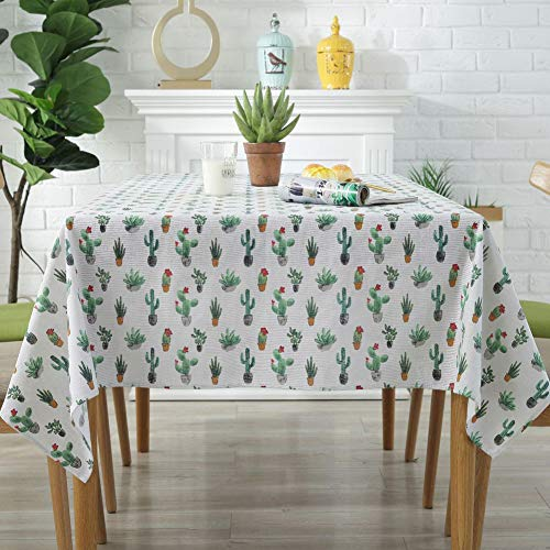 Amzali Cactus Pattern Tablecloth Cotton Linen DustProof Table Cover for Kitchen Picnic Dinning Tabletop Home Decoration Square 55 x 55 Inch