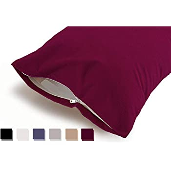 """Uppercut 100% Water Resistant Terry Cotton Pillow Protector - Set of 2, Maroon (18"""" x28"""")"""