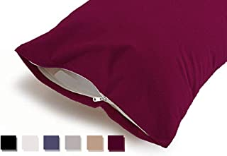 "Uppercut 100% Water Resistant Terry Cotton Pillow Protector - Set of 2, Maroon (18"" x28"")"