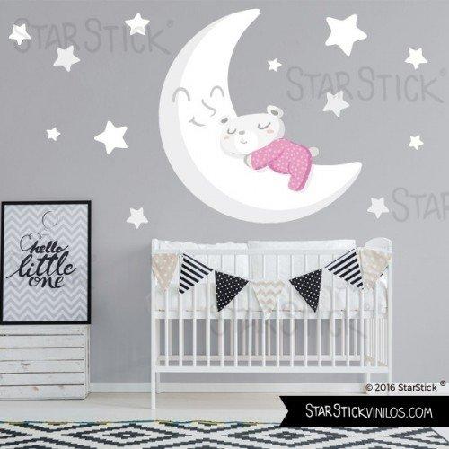 StarStick - Vinilo bebé Osito en la luna blanca Rosa 100x55 cm...