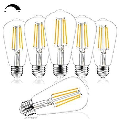 Dimmable Vintage LED Edison Bulbs, 100W Equivalent, 8W, 1200Lumens, High Brightness Soft Warm White 3000K, ST64 Antique LED Filament Bulbs, Standard E26 Medium Base, Clear Glass, High CRI 90+, 6 Packs