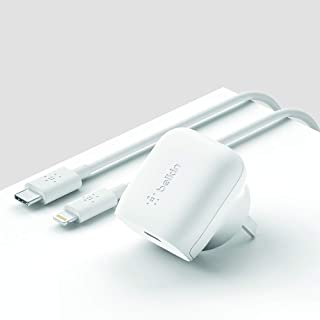 Belkin F7U096au04-WHT Belkin USB-C Wall Charger 18W w/ 4ft USB-C to Lightning Cable (iPhone Fast Charger for iPhone Xs, XS...