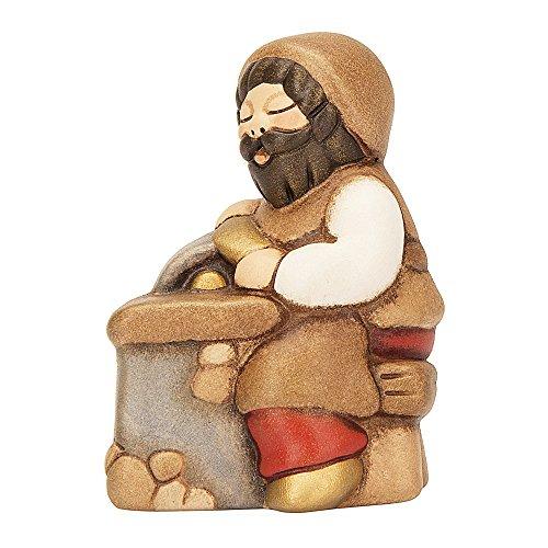 THUN - Statuina Presepe Arrotino - Decorazioni Natale Casa - Linea Presepe Classico, Variante Rossa - Ceramica - 7,5 h cm