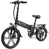 SAMEBIKE Nueva Versión Bicicleta Eléctrica Plegable de 20 Pulgadas, Bicic Eléctrica 350W 48V 10.4AH con Pantalla LCD + Luces de Bicicleta Delanteras y Traseras (Soporte para móvil con Carga USB)