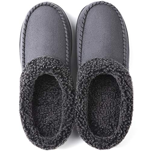 ULTRAIDEAS Men's Cozy Memory Foam Moccasin Suede Slippers with Fuzzy Plush Wool-Like Lining, Slip on Mules Clogs House Shoes with Indoor Outdoor Anti-Skid Rubber Sole(Dark Grey, 13-14)