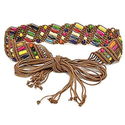Viva Fancy Bohemia Womens' Colorful Woven Belt Wax Rope Skirt Dress Decorative Tassel Belts WD562 (brown)
