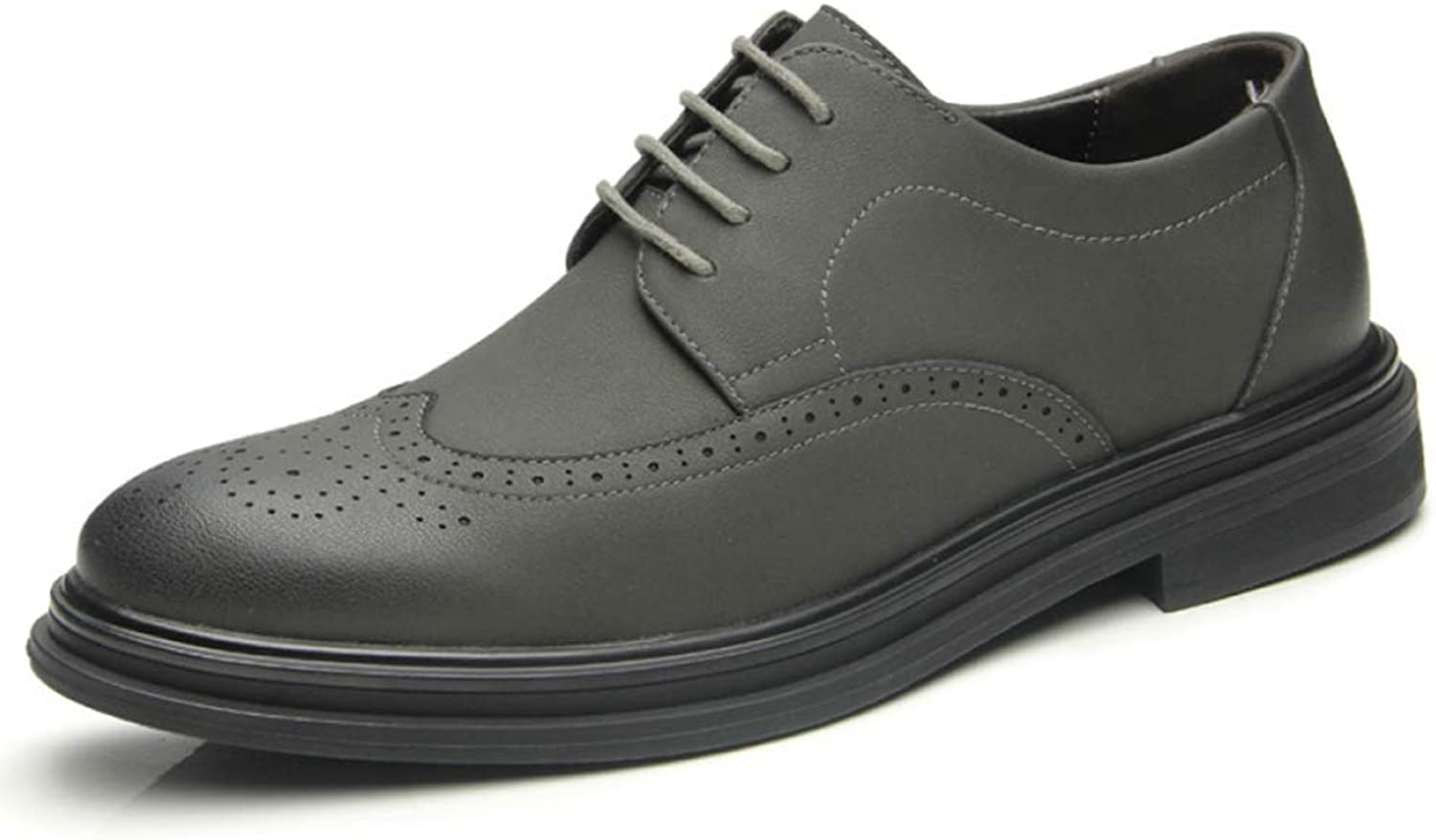Mens Brogues Genuine Leather shoes Business Formal Dress shoes Round Toe Casual Non-slip Lace-ups shoes For Wedding Work Utility Footwear