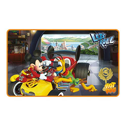 ARDITEX WD11625 - Alfombra Suave, 45 x 75 cm, diseño Mickey Mouse Roadster Racers