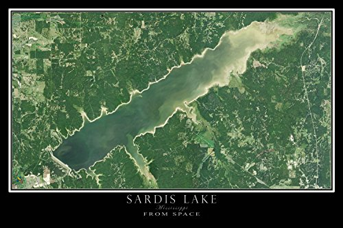 Terra Prints The Sardis Lake Mississippi Satellite Poster Map M 16 x 24 inch