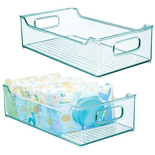 mDesign Juego de 2 cestas organizadoras para cuarto de bebé – Contenedor plástico grande con prácticas asas – Caja para juguetes, pañales o peluches en plástico libre de BPA – azul