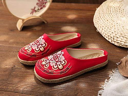 YYYSHOPP Pisos de Mujer Vegan Hecho a Mano Mujeres Millas Millas ZAPADORES MADRIAS COMPLETORIOS COMPLETOS Zapatos de Alpargatas Retro Bohemio Bohemio Zapatos Bordados (Color : Red, Size : 37 EU)