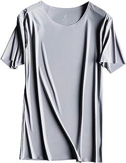 メンズ Tシャツ 夏 超薄型 アイスシルク ラウンドネック 半袖 通気性 無地 速乾 柔らかい 人気 快適 シンプルなファッション Tシャツ