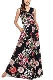 Comila Women Plus Size Dress, Fashion Summer Wrap V Neck Elegant Floral Maxi Dresses Stylish Work Specil Occasion Casual Daily Dress Black Floral XXL US(18/20)