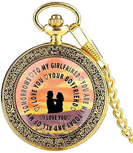私のガールフレンド/ボーイフレンドへの懐中時計トップラグジュアリー私はあなたを愛しています私のソウルメイトのボーイフレンドの夫のための懐中時計ポケットチェーンウォッチバレンタインギフト