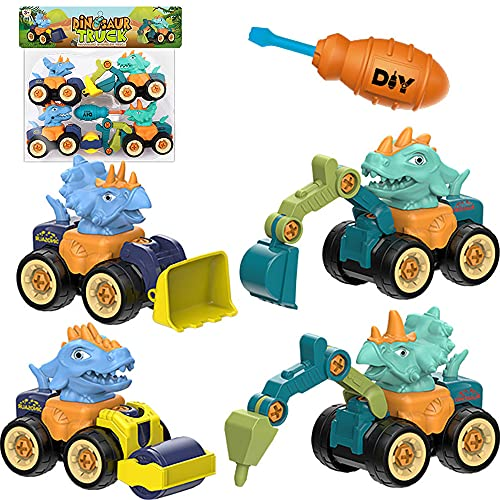 YANSION Vehículos de Construcción Coche de Juguete Dinosaurios para Niños Camiones de Juguete Excavadora Camión de Perforación Bulldozer Rodillo de Camino Juguetes para Niños de 3 4 5 6 7 Años