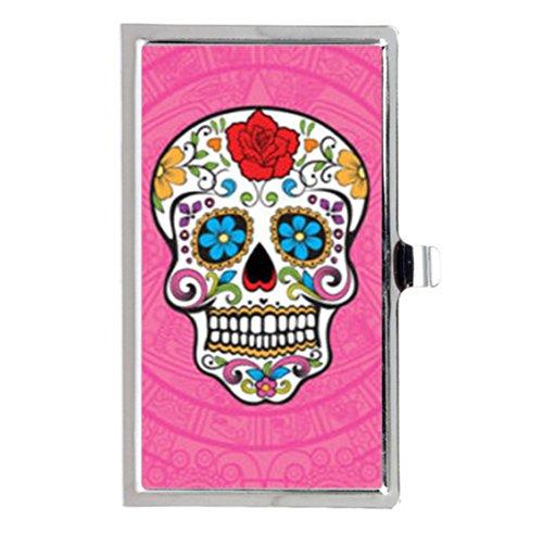 Tarjetero con Forma de Calavera Mexicana Rosa y Forma de Calavera Personalizada, de Acero Inoxidable
