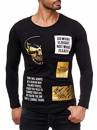 Red Bridge Herren Pullover Totenkopf Motiv Print Sweater Baumwolle Langarmshirt