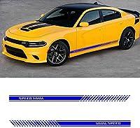 HXKGSMG に適しています Dodge 汎用 カー オート ボディ ステッカー ロング ストライプ サイド スカート レーシング デカール カー デコレーション 防水 カッティングステッカースタイリッシュ ストレートライン ステッカー 213x12cm 黒 (青)