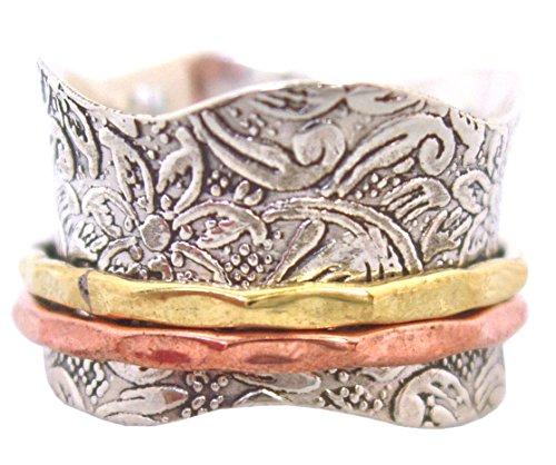 """Bague de Méditation Energy Stone """"Balance et Beauté"""" - Motif floral à 2 anneaux en bronze et laiton - 1"""
