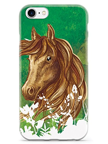 Inspired Cases - 3D Textured iPhone SE Case - Rubber Bumper Cover - Protective Phone Case for Apple iPhone SE - Watercolor Horse Illustration - Forest Green
