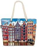 VOID Casas de Ámsterdam Bolsa de Playa 58x38x16cm 23L Shopper Bolsa de Viaje Compras Beach Bag Bolso