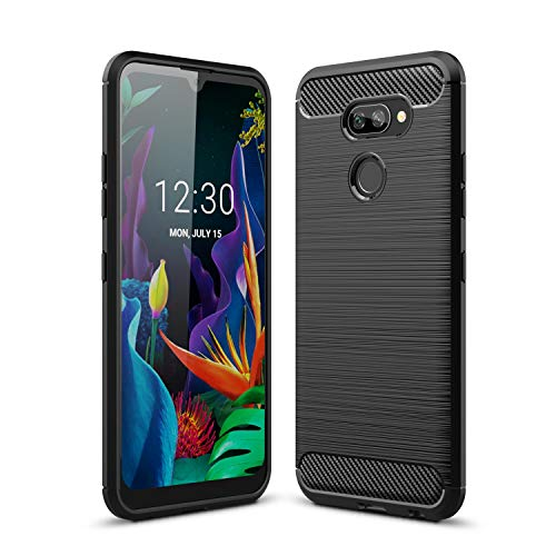 Cruzerlite LG K40S hülle, Carbon Fiber Texture Design Back Cover Anti-Scratch Shock Absorption Hülle Schutzhülle für LG K40S (Black)
