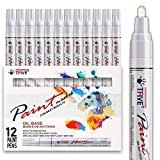 White Paint Pens Paint Markers - 12 Pack Oil-Based White Permanent Marker White-Paint-Pen, Never Fade Quick Dry, Waterproof Paint Marker Pen Set for Rocks Painting, Wood, Fabric, Plastic, Canvas, Glass
