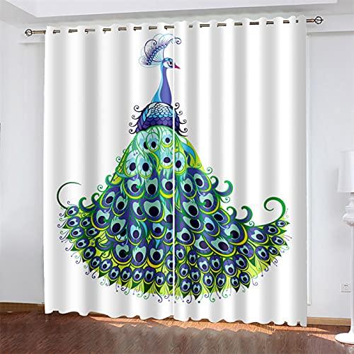 YUNSW 3D-Digitaldruck Polyester-Vorhänge, Geeignet Für Wohnzimmer, Schlafzimmer Und Küche, Beschattung Und Geräuschreduzierung, Mit Löchern, Vogelvorhänge (Total Width) 264x(Height) 160cm