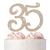 35 Cake Topper - Premium Rose Gold Metal - 35th Birthday Party Sparkly Rhinestone Decoration Makes a Great Centerpiece - Now Protected in a Box