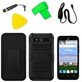 Holster w Hybrid Cover Case Phone + Car Charger + Screen Protector + Extreme Band + Stylus Pen + Pry Tool For ZTE Maven Z812 / ZTE Overture 2 LTE Z813 / ZTE Fanfare Z792 (Holster Black/Black)