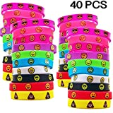 AWEGLO 40 Pack Emoji Emoticons Silicone Wristbands Rubber Bracelets for Kids Emoji Party Favors Birthday Party Supplies Goodie Bags Prize Box Toys for Classroom Rewards Kids Size