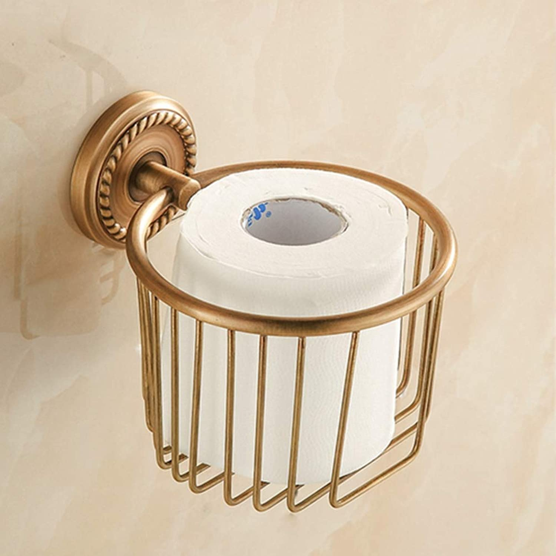 LUDSUY Wall Mounted Roll Paper Holder Badket Antique Brass Bathroom Storage Shelf,ABathroom Accessories