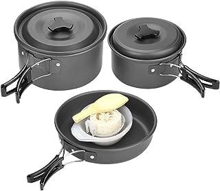 Migvela 2-3 Acero Inoxidable Utensilios de Cocina Ollas Sart/én Acampar 10 Set Utensilios de Cocina para el Campamento Itinerante de Senderismo al Aire Libre Picnic Utensilios Cocina Camping 18.5
