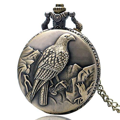 LEYUANA Reloj de Bolsillo de Bronce Antiguo de Cuarzo Estilo
