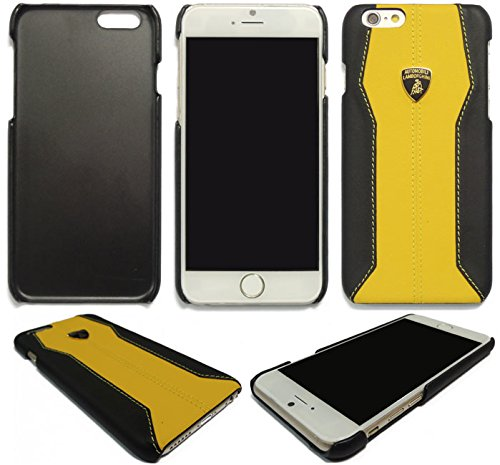 Funda tipo libro para iPhone 6/6S/6plus/7/7, diseño de piel de Lamborghini, todos los colores, piel sintética, Back Yellow, iPhone 6 PLUS/6S PLUS