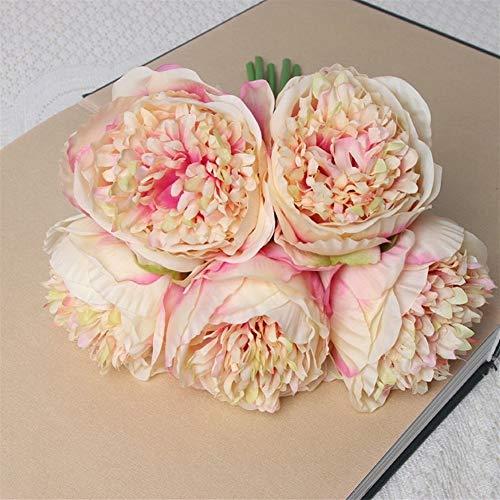 Mrjg Kunstblumen Künstliche Seide rosa Pfingstrose Blumen Brautstrauß hohe Qualität gelb gefälschte Blumenarrangements Hochzeit Wohnkultur große 5 Köpfe Grünpflanzen (Color : 1)