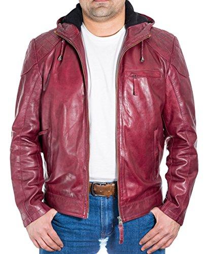 Hombre del Borgo–a de cuero chaqueta con capucha. Hombro y Codo Patch diamante que acolcha