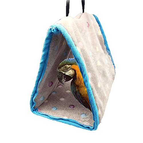 Keersi Winter Warm Bird Nest House Perch for Parrot Macaw African Grey Amazon Eclectus Parakeet Cockatiel Cockatoo Conure Lovebird Cage Bed Toy