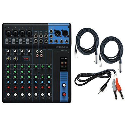 Yamaha MG10 10 Input Stereo Audio Mixer with 10 channel Analog Mixer with 4 Microphone Preamps , 3 Dedicated Stereo Line Channels , 1 Aux Send , EQ, and 1 knob Compressors Audio Mixer Bundle /w Cables, Black