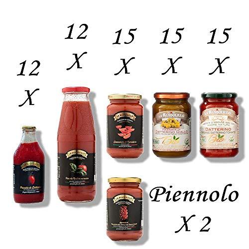 Pomodorini del Piennolo del Vesuvio DOP, giallo, con basilico, Maxi degustazione 71 pezzi - salse e sughi made in Italy - La Russolillo