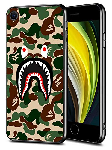 iPhone SE 2020 iPhone 8 iPhone 7 Case, Shark Face Slim Thin Protective Cover Phone Case for iPhone SE 2020/8/7 (4.7 inch) (Green-Camo-Bape)