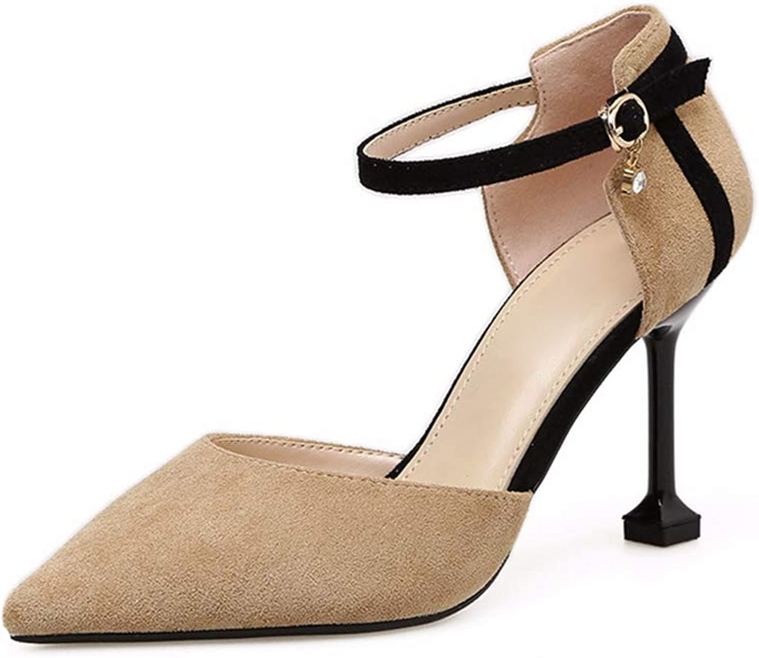 Phil Betty Women's Pumps,Sexy Ankle Buckle Fashion Black Apricot Office High Heels