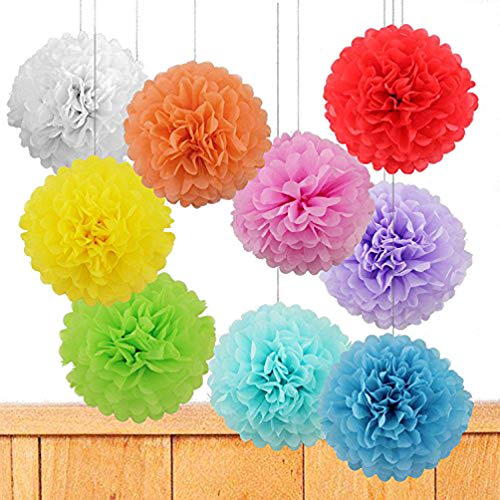 """Price comparison product image Life Glow 12Pcs Pom Poms of 10"""" 12"""" 14"""" Multi-Colors Tissue Paper Craft Pom Poms Kit Tissue Paper Flowers Wedding Decorations for Wedding,  Birthday,  Baby Shower,  Nursery Decor-Colorful"""
