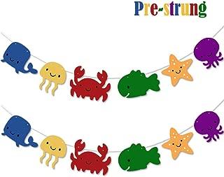 Under the Sea Garland, Ocean Animals Party Banner, Ocean/Coastal/Nautical/Starfish/Seashell/Summer Beach/Swimming Pool/Hawaii Luau Theme Baby Shower Birthday Party Supplies Decorations