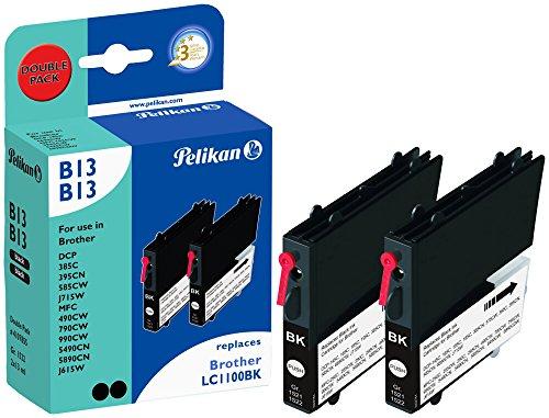Pelikan 4107855 - Cartucho de Tinta Brother MFC-490C - LC1100 - Doble Pack (Negro + Negro) 🔥