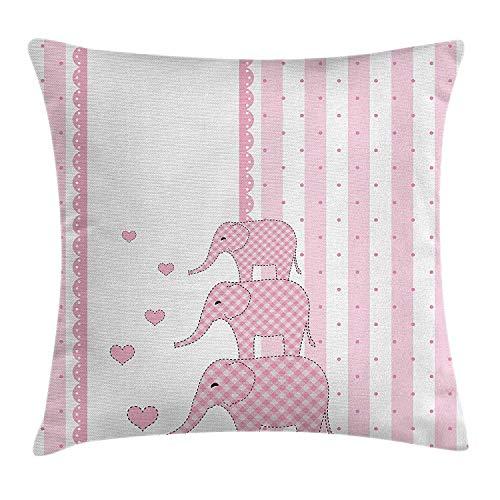 N/C Elephant Heart Retro Throw Pillowcase Home Sofa Cushion Cover Gift Decorative 18 x 18 Inch/45 x 45cm